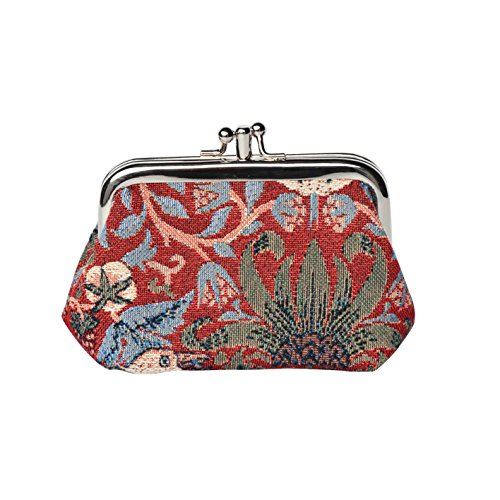 Red Floral William Morris Strawberry Thief Tapestry Double Clasp Frame Coin Change Purse by Signare (FRMP-STRD)