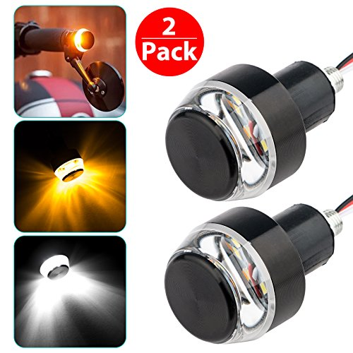 LinkStyle Motorcycle Turn Signal Light Grip Bar Plug Strobe Side Marker End LED Handlebar Black 2-Pack