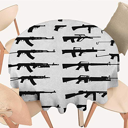 longbuyer Military Printed Tablecloth Silhouette of Various Size Guns Weapons Pistols Revolvers War Army Power Concept Round Tablecloth D 54 Black White