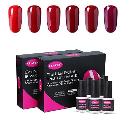 CLAVUZ Gel Nail Polish Set 6pcs Burgundy Nail Polish Soak Off Gel Lacquer Professional Salon Beauty Manicure New Starter Gift Kit