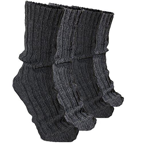 (BRUBAKER 4 Pairs Thick Alpaca Winter Socks 100% Alpaca Grays EU 39-42 / US 6.5-8)