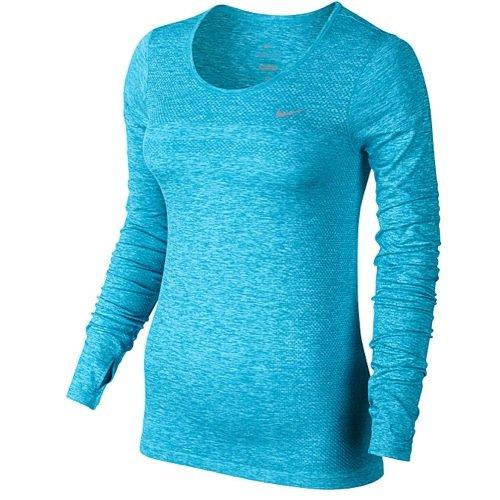 Nike Womens Dri-Fit Knit Long Sleeve Tee - Blue - X-Small