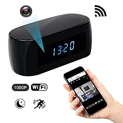 Spy Hidden Wi-Fi Camera, ZDMYING Wireless Alarm clock Security camera HD 1080 Remote View Night Vision Motion Detection Loop Recording for Home Office Car Nanny Surveillance Camera