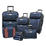 8 Piece Deluxe Solid Themed Spinner Lightweight Expandable Carry On Luggage Set Suitcases, Elegant Modern Motif, Softsided, Checkpoint Friendly, Multi Compartment, Fashion Soft Travel Bags, Navy Blue