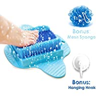 Product Choices Foot Scrubber | Foot Brush Bristles Deep Clean | Massage | Exfoliate & Stimulate Feet | Foot Spa Brush | Free Hook & Body Mesh Sponge | 100% Recyclable & Perfect Gift | Premium Quality