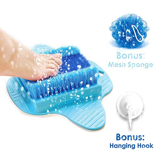 (Product Choices Foot Scrubber | Foot Brush Bristles Deep Clean | Massage | Exfoliate & Stimulate Feet | Foot Spa Brush | Free Hook & Body Mesh Sponge | 100% Recyclable & Perfect Gift | Premium Quality)