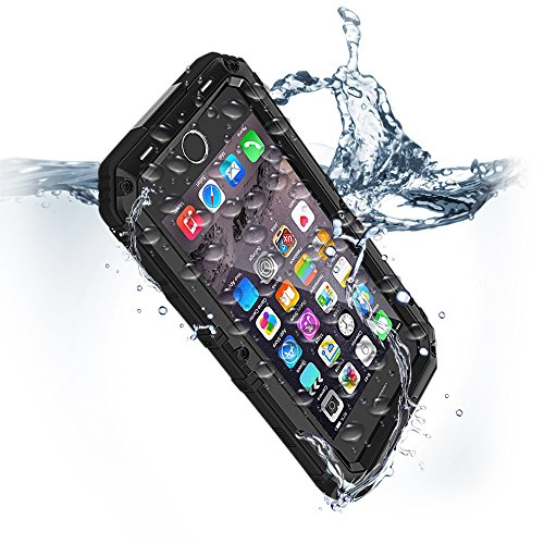 Drop Metal (iPhone 8 & 7 Waterproof Case with Built-in Screen Protector Heavy Duty Full Body Rugged Armor Hard Silicone Protection Cover Metal Military Grade Apple Bumper Drop Dust Proof Protective Commuter Black)