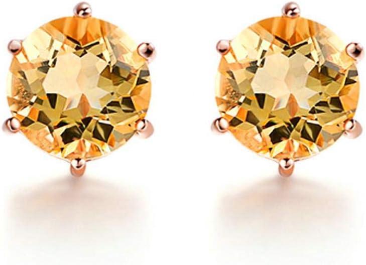 Pendientes de Plata esterlina 925 para Mujer Pendientes Minimalistas de Piedras Preciosas citrinas Joyas Finas chapadas en Oro Rosa
