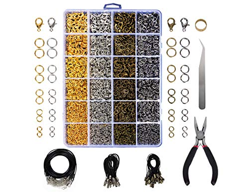 3200 Pcs Jewelry Findings Jewelry Making Starter Kit with Open Jump Rings, Lobster Clasps, Jewelry Pliers, Black Waxed Necklace Cord for Jewelry Making Supplies and Necklace - Jewelry Supplies Maker
