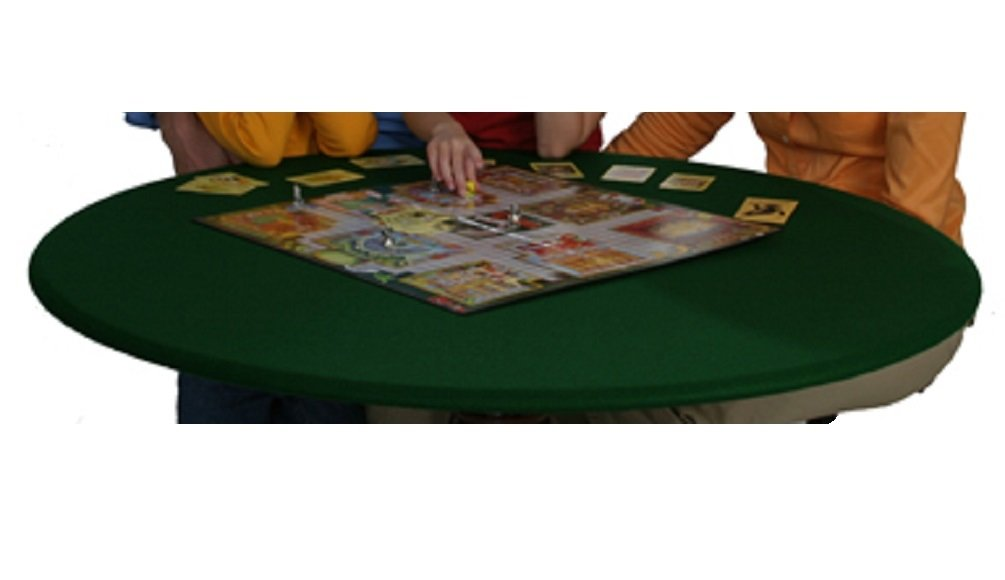 Fitted Round Elastic Edge Solid Green Felt Table Cover for Poker Puzzles Board Games Fits 36 to 48 Also Fits 36 Square Econo Tex