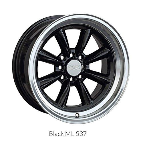 XXR Wheels 537 Black Wheel with Machined Finish and Machined Lip (16x8