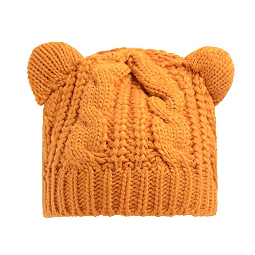 (Freedi Knitted Winter Hats for women Fashion Thick Soft Warm Winter Cat Ears Hemp Flowers Cap)