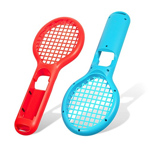 EEEKit Tennis Racket for Nintendo Switch, Joy-Cons/Controllers Grips for Switch Joy-con Grip for Somatosensory Games Like Mario Tennis Aces 2-Packs (Red-Blue)