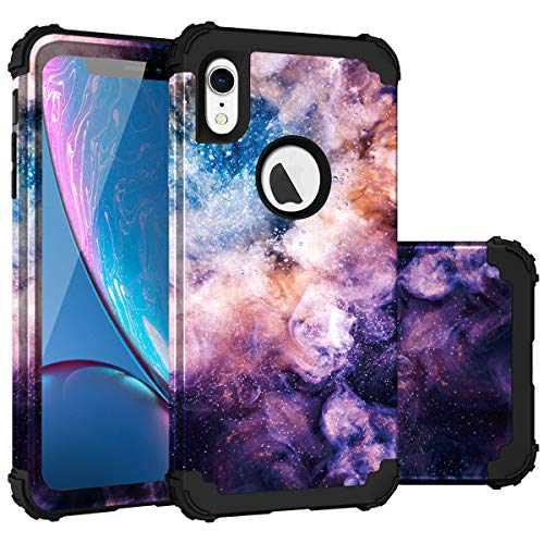 Fingic iPhone XR Case, iPhone XR Case 3 in 1 Heavy Duty Protection Hybrid Hard PC & Soft Silicone Rugged Bumper Anti Slip Full-Body Shockproof Protective Case for Apple iPhone XR (2018) - Nebula Black