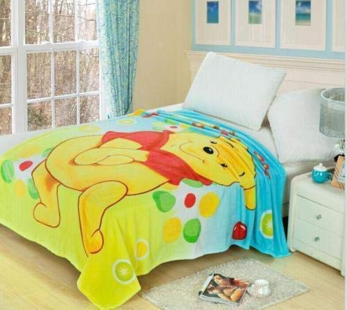 (FidgetFidget Throw Blanket Rug Plush Winnie The Pooh Soft Warm Coral Fleece 150CMx200CM)