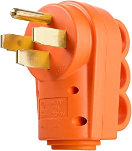 MICTUNING 125 250V 50Amp Heavy Duty RV Replacement Male Plug with Ergonomic Handle Yellow