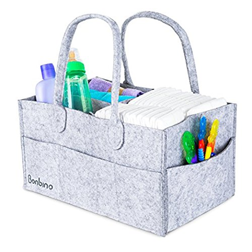 Baby Nappy Caddy By Bonbino - Luxury Portable Nappy Storage With Changeable Compartments. For Home, Car & Nursery Organiser For Nappies And Baby Wipes - Royal Grey Nursery Storage Bin