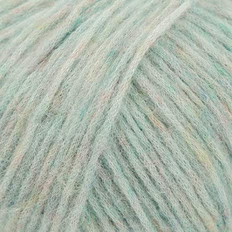 in shades of pale aqua blue with pale grey 115 g size fingering Merino and nylon Aeolus bottom yarn hand dyed