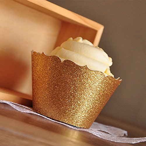 Gold Cupcake Wrappers for 40th Birthday Party. Gold Cupcake Holder. Wedding Cupcake Wrappers 12CT.