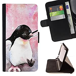 Jordan Colourful Shop - Cute Penguin Watercolor Baby Pink For Sony Xperia Z1 L39 - Leather Case Absorci???¡¯???€????€????????&c