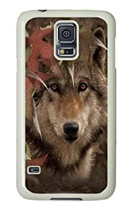 Autumn Encounter Wolf Polycarbonate Hard Case Cover for Samsung Galaxy I9600/S5 White