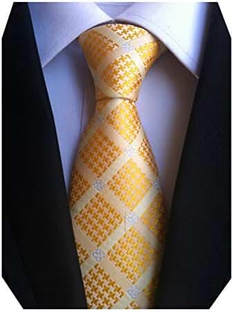 MENDENG Classic Silk Woven Check Men Business Tie Maxi Color Plaid Necktie Ties