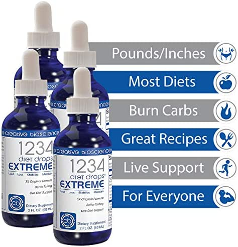 Creative Bioscience 1234 Diet Drops Extreme - Weight Loss Drops with Key Amino Complex for Keto Diet, Intermittent Fasting, 1234 Diet, 2 Fl Oz (4 Pack) 3