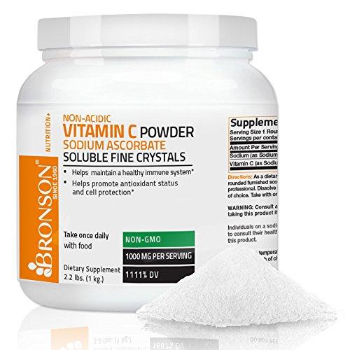 Ascorbate Powder (Bronson Vitamin C Non-Acidic Sodium Ascorbate Powder, Non-GMO,1 Kilo (2.2 lbs, 35.3 Ounces))