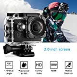 Cymas Full HD 1080P 2.0 Inch Sports Action Camera Underwater Waterproof Video Camera with 170 Degrees Wide-angle Lens and 16 Accessories