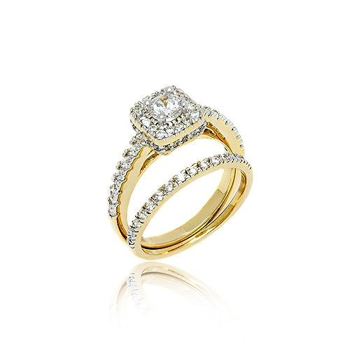 Amazon Com 18k Gold Bridal Set Silver Princess Cut Cubic Zirconia