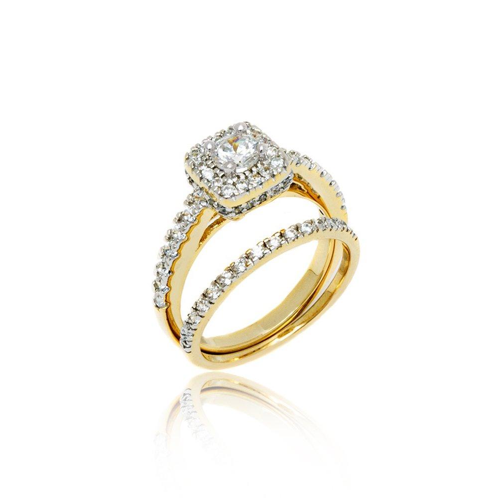 18K Gold Bridal Set Silver Princess Cut Cubic Zirconia Engagement Wedding Rings White Gold