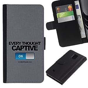 Billetera de Cuero Caso Titular de la tarjeta Carcasa Funda para Samsung Galaxy Note 4 SM-N910 / BIBLE Corinthians 10:5 Captive / STRONG