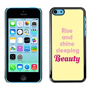 TopCaseStore / la caja del caucho duro de la cubierta de protección de la piel - Beauty Rise And Shine Yellow Quote - Apple iPhone 5C