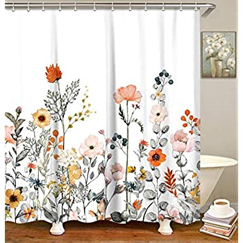 LIVILAN Fabric Floral Shower Curtain Set with 12 Hooks Watercolor Decorative Bath Curtain Modern Bathroom Accessories, Machine Washable, Multi-Color Flowers and Leaves, 72