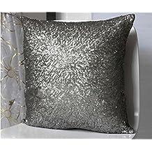 ShinyBeauty Sofa Pillow Covers,Gunmetal Sequin Pillow Cover,Sequin Lumbar Pillow,Sequin Pillow Case-20x20-Inch