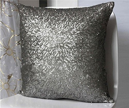 ShinyBeauty 18x18-Inch-Sofa Pillow Covers Large,Gunmetal Sequin Pillow Cover,Decorative Pillow Cover,Throw Pillow Case