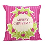 Christmas Pillow Cases,SUPPION Merry Christmas Print Pillowcase Linen Cotton Sofa Cushion Cover Home Decor (I)