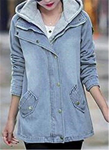 Autunno Moda Cappotto Invernale Donna Cardigan Outwear 2 Giacca In Soprabito Denim Pulsante Besthoo Blue PezziAbiti Elegante Hoody eWDH2Y9IE