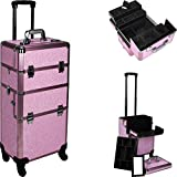 HIKER Makeup Rolling Case HK6501 2 in 1 Hair Stylist Organizer, 3 Slide and 1 Removable Tray, 4 Wheel Spinner, Locking with Mirror, Extra Lid and Shoulder Strap, Pink Krystal