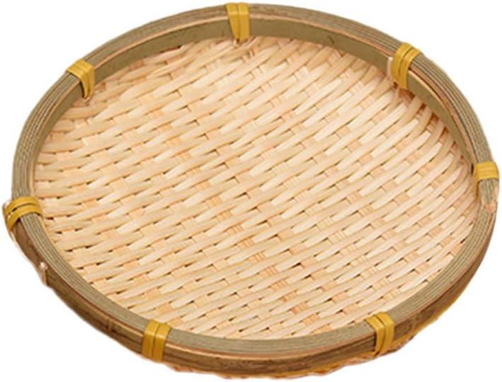 Cabilock Natural Woven Bamboo Basket Wicker Food Storage Serving Tray Bread Basket Tray Storage Basket Willow Handwoven Basket Fruit Vegetables Serving Basket 13CM