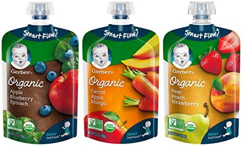Gerber Organic 2nd Foods Baby Food, Fruit & Veggie Variety Pack, 3.5 Ounces Each, 18 Count
