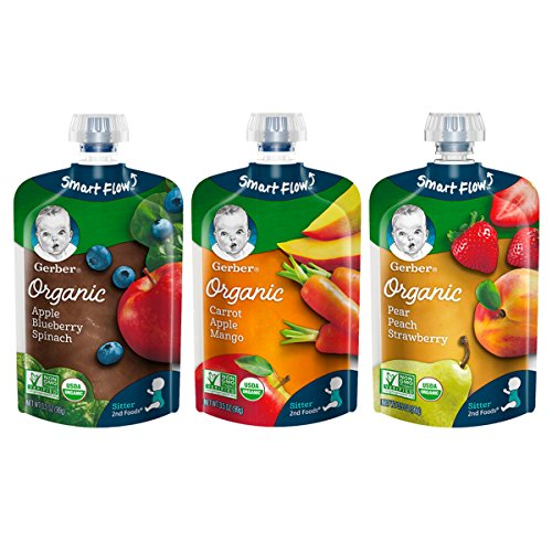 Gerber Organic 2nd Foods Baby Food, Fruit & Veggie Variety Pack, 3.5 Ounces Each, 18 Count ()