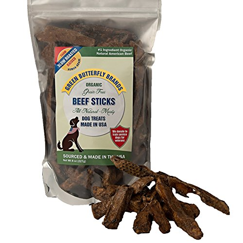 Green Butterfly Brands Organic Grain Free Dog Treats - Made in USA Only - All Natural, Meaty Beef Sticks - Premium Slow Roasted American Beef - Grass Fed, Farm Raised - Crunchy Training Treat 8 Ounces