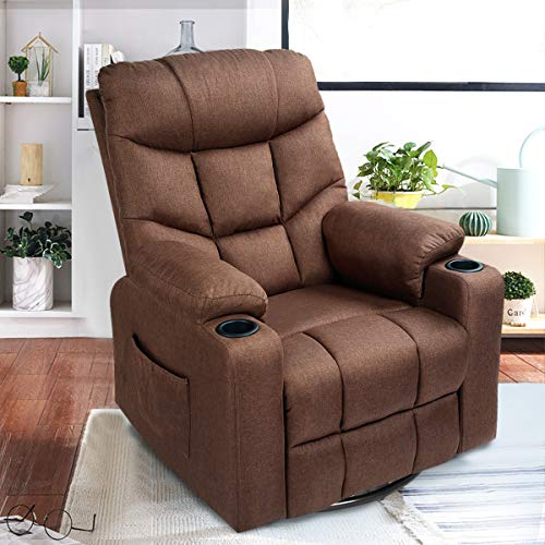 Esright Coffee Fabric Massage Recliner Chair 360 Degrees Swivel Heated Ergonomic Lounge Chair