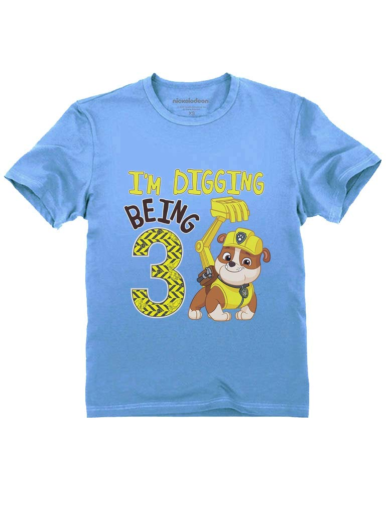 Tstars - Paw Patrol Rubble Digging 3rd Birthday Official Toddler Kids T-Shirt 4T California Blue