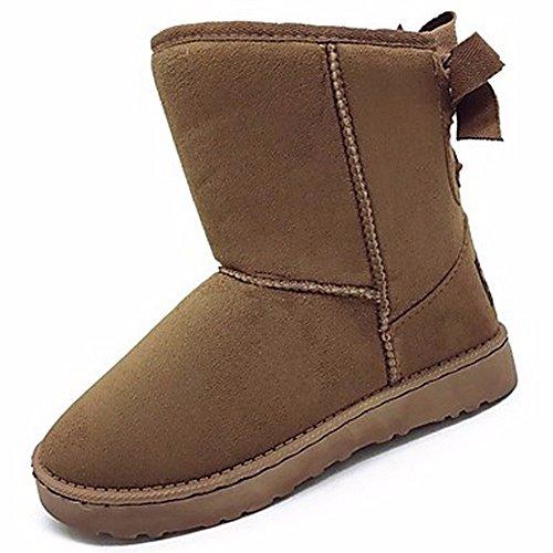 ZHUDJ Women'S Shoes Flocking Fall Winter Comfort Snow Boots Boots Round Toe Bowknot For Casual Khaki Brown Black Khaki 36rBbm9Jk