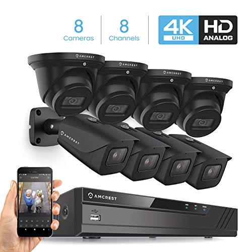 Amcrest 4K Security Camera System 8CH 8MP Video DVR with 8X 4K 8-Megapixel Indoor Outdoor Weatherproof IP67 Bullet & Dome Cameras, 2.8mm Lens, HDD Not Included, for Home Business (AMDV8M8-4B4D-B)