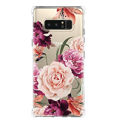 Galaxy Note 8 Case,Samsung Galaxy Note 8 Case with Flower,LUOLNH Slim Shockproof Clear Floral Pattern Soft Flexible TPU Back Cover for Samsung Galaxy Note 8 (Purple)