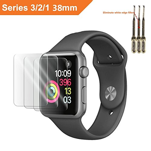 for Apple Watch Screen Protector 38mm, for Apple Watch Tempered Glass Screen Protector, Anti-Scratch Scratch Resistant Scratch-Proof Screen Film for Apple iWatch 38mm Series 1/2/3 (3Pack)