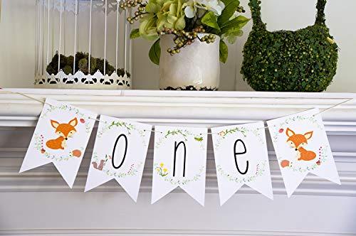 First Birthday Decoration, Woodland Animals 1st Birthday Highchair Banner, Fox Birthday Decor P022 ()